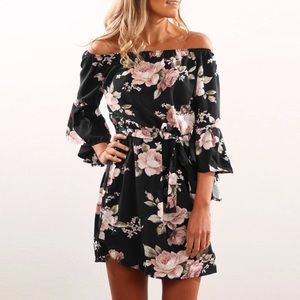 New Woman's  Off The Shoulder Floral Print Dress